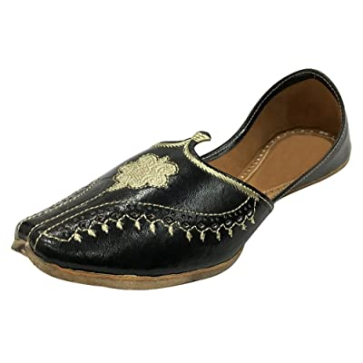 Step n Style Black Men Vintage Look Handmade Leather Khussa Shoes Indian Aladdin Juttis   Loafers & Slip-Ons