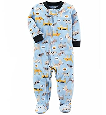 c1b2e615a5 Carter s Toddler Boy s Fleece Blue Dog Print Footed Pajama Sleeper ...