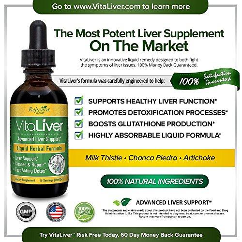 VitaLiver - Advanced Liver Cleanse & Detox Supplement | All-Natural Liquid for 2X Absorption | Milk Thistle, Chanca Piedra, Artichoke & More! by Rejuvica Health (Image #1)