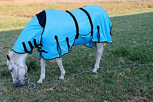 CHALLENGER 74'' Horse Bug Mosquito Fly Sheet Summer Spring Airflow Mesh UV Neck Pacific Blue 73130 by CHALLENGER