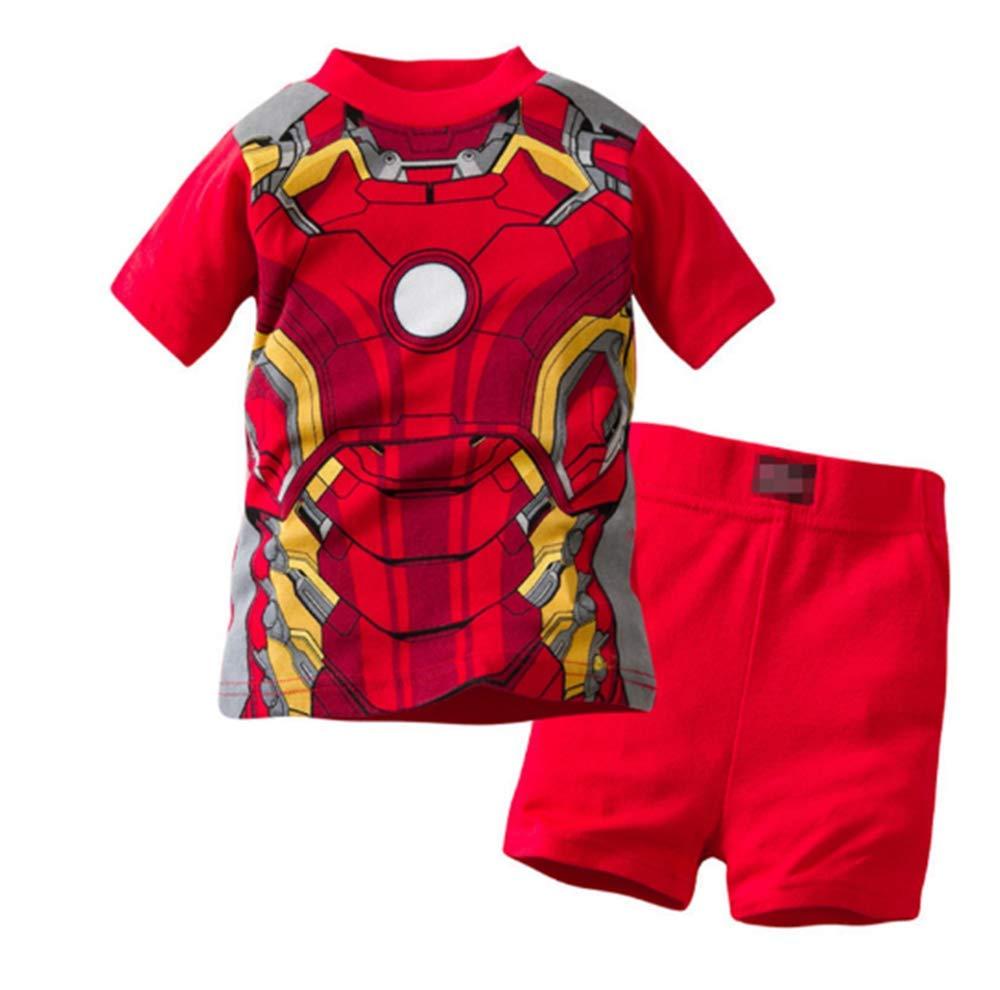 Boys Pajamas 100% Cotton Iron Man Kids Snug Fit Pjs Summer Toddler Sleepwear (32, 7T)