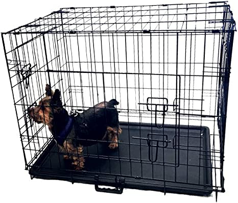 Folding Pet Dog Cat Crate Cage Kennel With Plastic Tray W//Divider 30