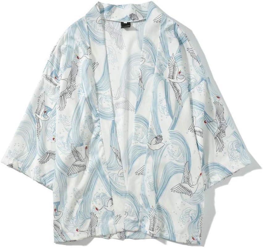 La Grande Vague De Kanagawa Japonais Traditionnel Orient Cardigan Ethnique Kimono Haori Homme Unisexe Mince en Vrac Ukiyo Zzzb Color : Color1, Size : M