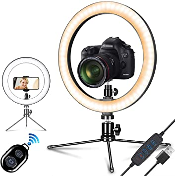 9 Selfie Ring Light with Tripod Stand and Phone Holder LED Beauty Lights for YouTube Video Make Up Live Stream Photography Vlogging