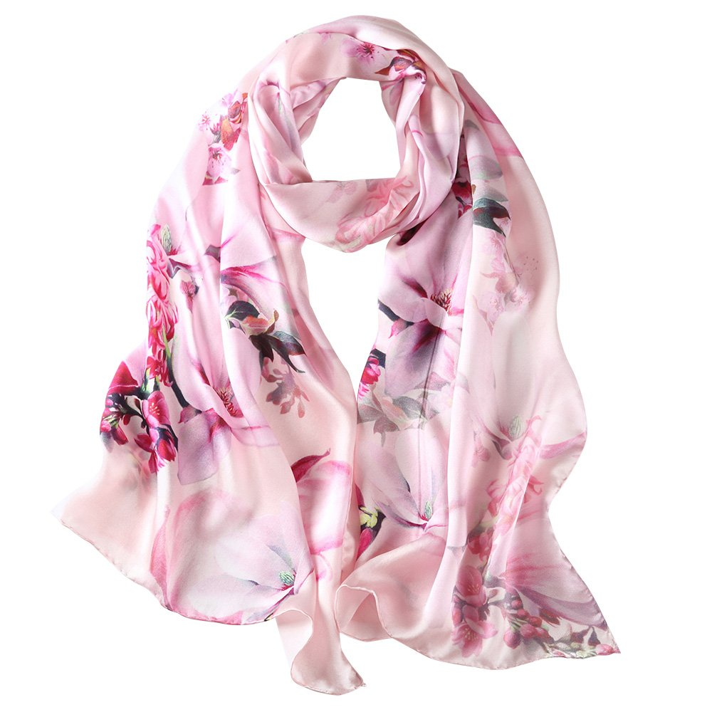 "PAICY Women's 100% Mulberry Silk Scarf, Beautiful Nature Prints (Baby Pink), 69""x20"""