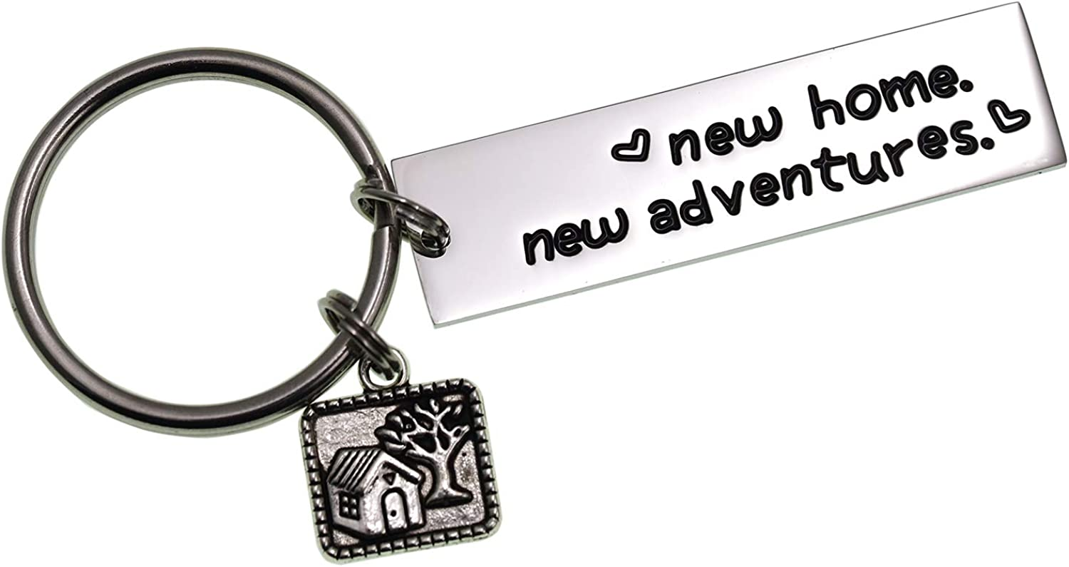 LParkin New Home New Adventures Keychain Housewarming Gift New Home Gift House Keys Keyring Moving in Together First Home Funny Housewarming