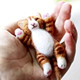 YSZ Lazy Ginger Kitten Needle Felting Kits Lying in Hands - Needles, Finger Guards, Black High-density Foam Mat, Instructions 8cm