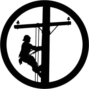 "Lineman Climbing Pole, 19"" Round Home Decor Metal Art, Lineman, Lineman Wall Art, Lineman Gift for Men, Lineman Wall Decor"