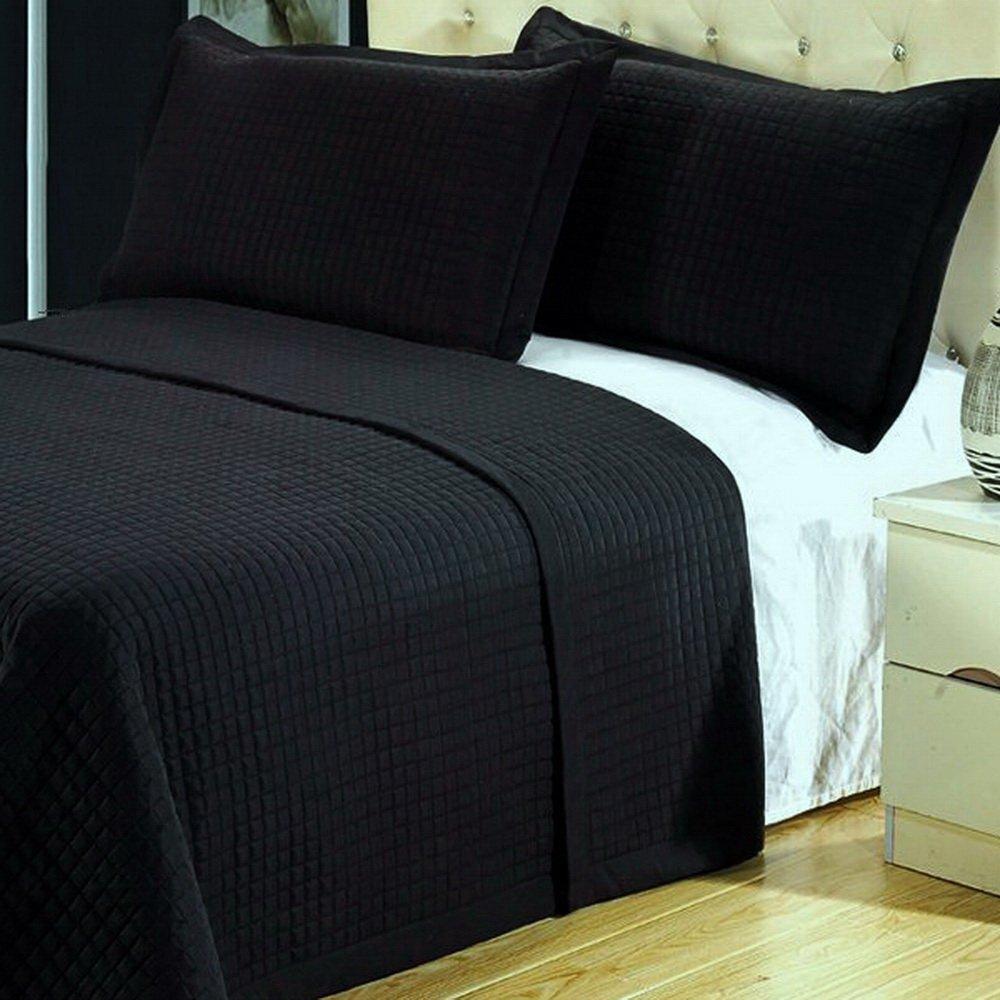 Modern Solid Black Lightweight Bedding Quilt Coverlet Set Full/Queen Size