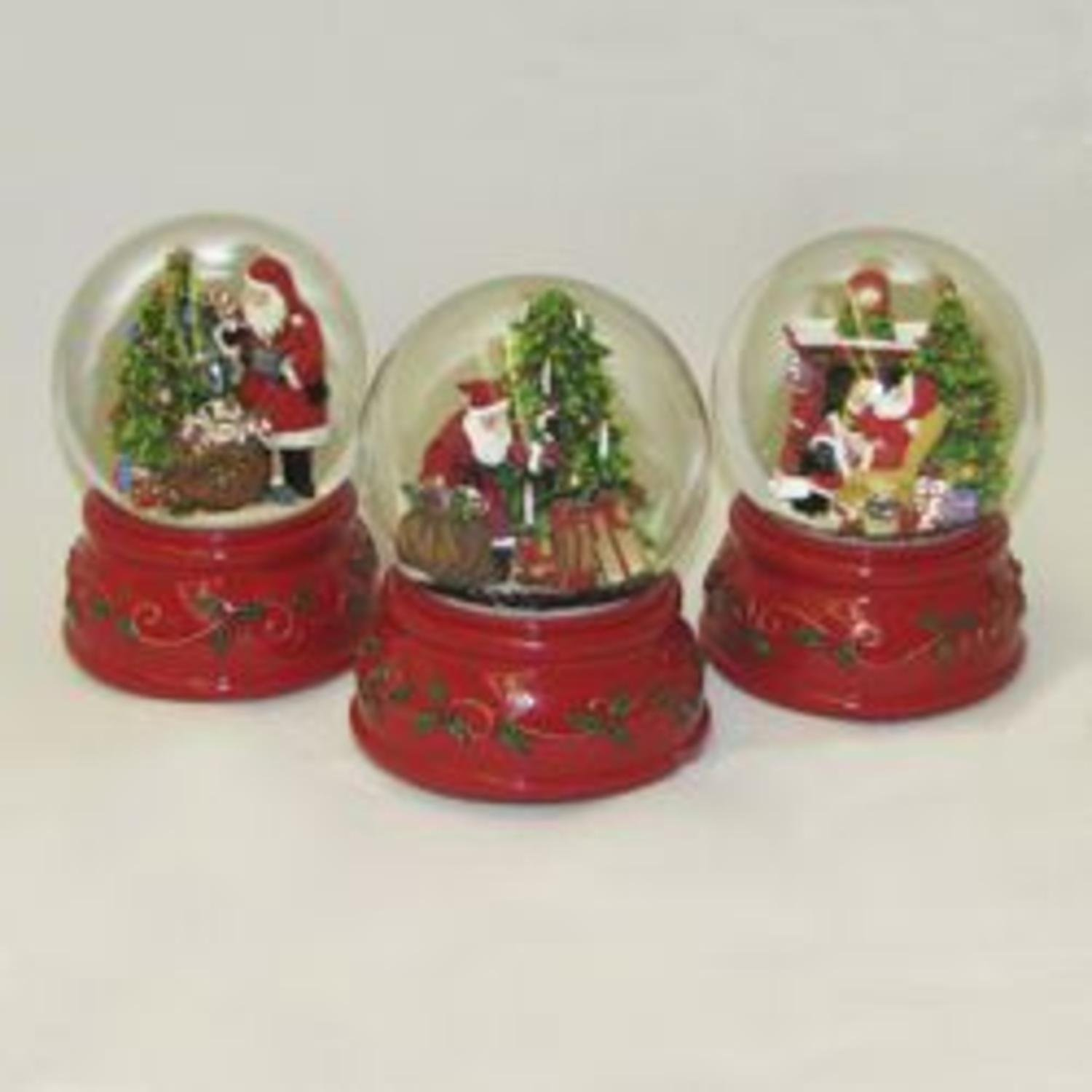 Pack of 12 Assorted Wind-Up Musical Santa Claus Christmas Snow Water Globes 4''