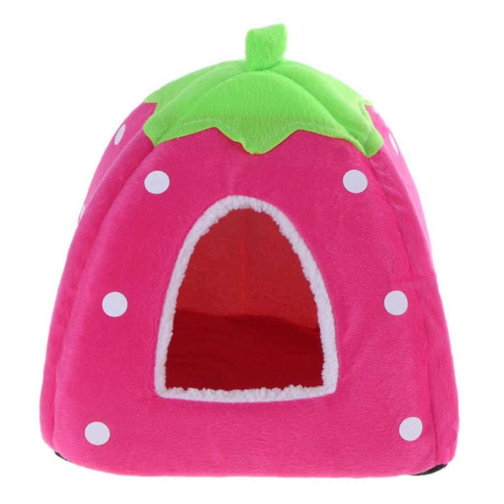 C Large C Large Foldable Cat Dog Kennel Warm Pad Strawberry Shape Sponge Pet House Kennel (color   C, Size   L)