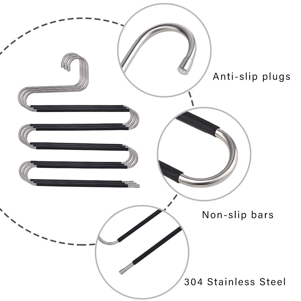 5 Tiers Design S Shape Pants Rack CEISPOB Space Saving Pants Hangers 1-Pack Non Slip Stainless Steel Clothes Pants Hanger Closet Storage Organizer for Pants Jeans Trousers Scarf Hanging