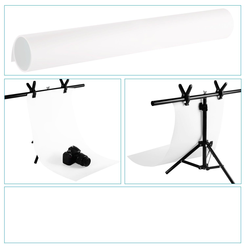 40x75cm Sans Couture PVC Toile de Fond Papier pour Photographie Photo Video Studio Neewer/® 16x30 Blanc