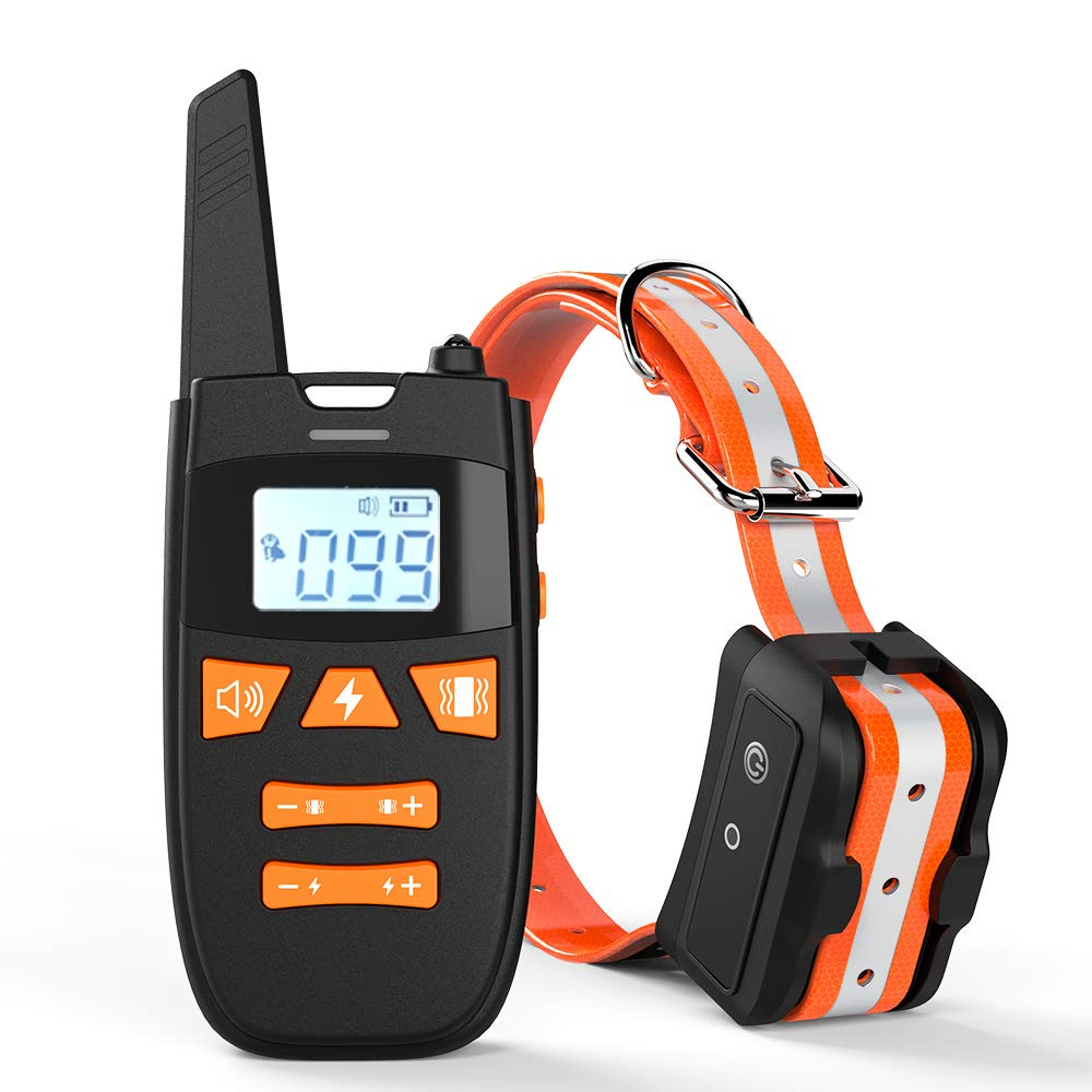 Dog Training Collar with Remote, Rechargeable Shock Collar Up to Remote Range 2000FT & IPX7 Level Waterproof with Beep/Vibration/Shock 3 Training Modes for Small Medium Large Dogs, All Breeds