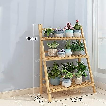 Puesto de plantas Soporte de flores de bambú de 3 capas, soporte ...