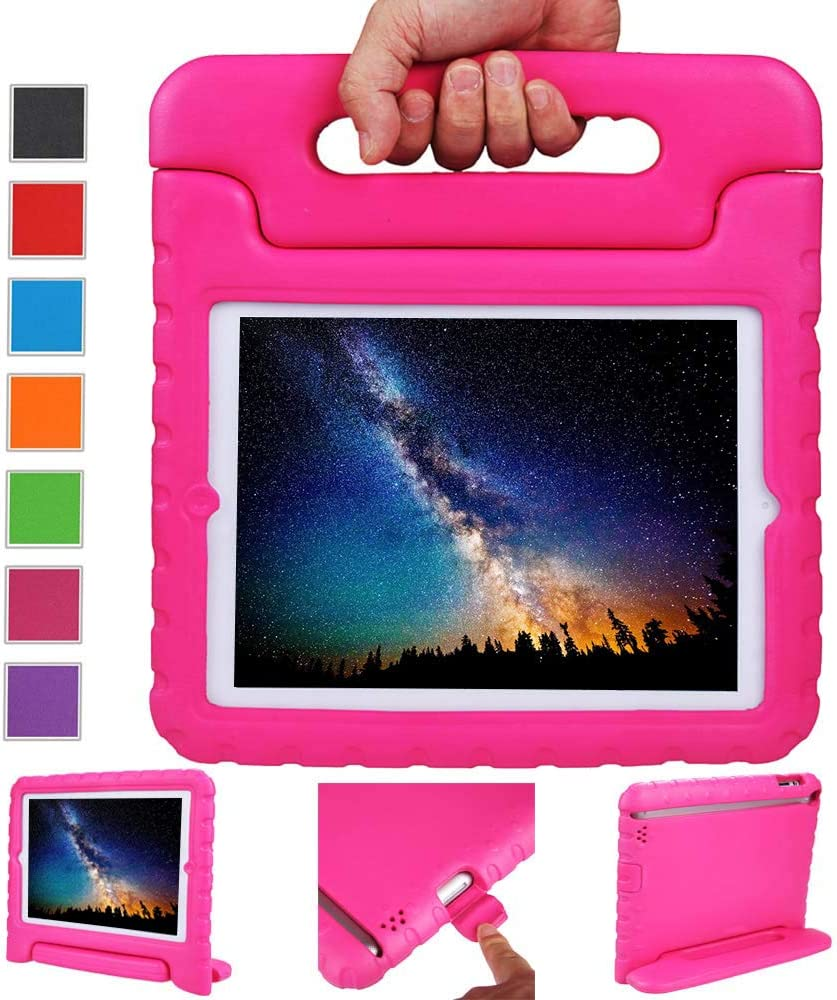 NEWSTYLE Apple iPad 2 3 4 Shockproof Case Light Weight Kids Case Super Protection Cover Handle Stand Case for Kids Children for Apple iPad 4, iPad 3 & iPad 2 2nd 3rd 4th Generation (Rose)