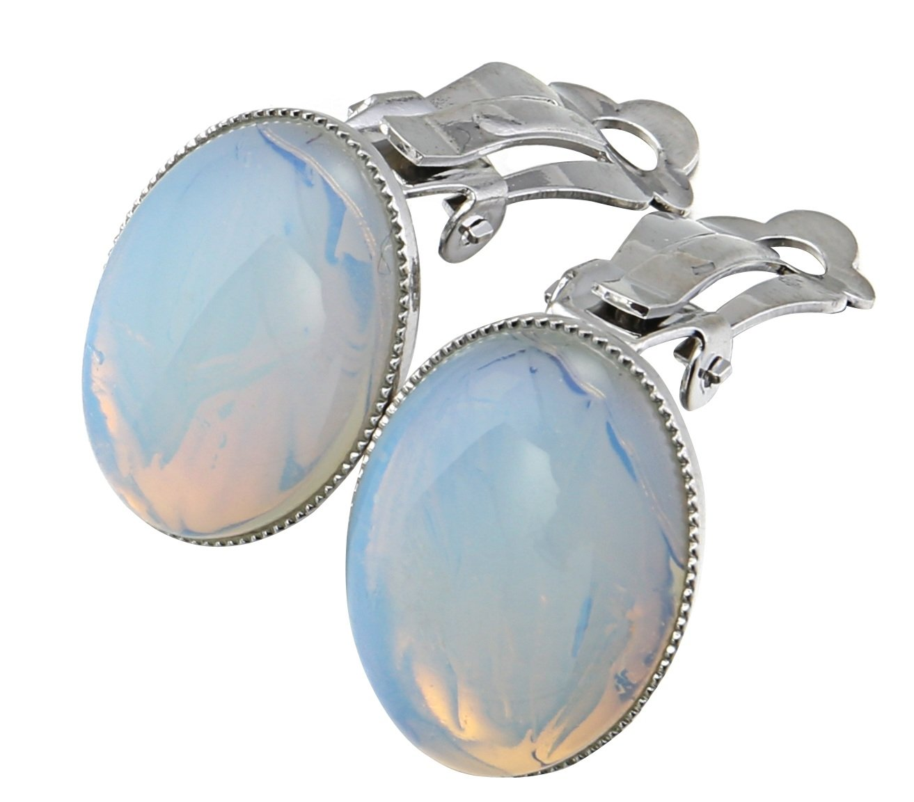 MagicYiMu Women's Jewelry Oval Simulated Opal Clip-On Earrings by MagicYiMu (Image #2)