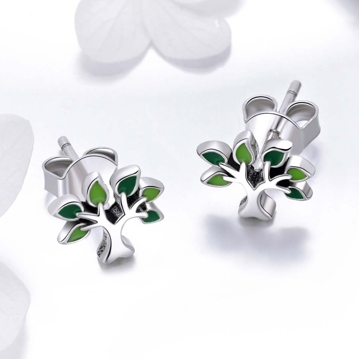 BISAER Tree of Life 925 Sterling Silver Stud Earrings with Green Enamel Leaves, Cute Post Stud Earring Hypoallergenic Jewelry for Women. by BISAER (Image #3)