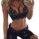 c57151da8f3f9 Anglewolf Womens Lingerie Corset Lace Flowers Bralette Bralet Bra Tank Cami  Crop…