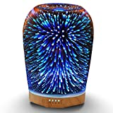 MELLER 280ml Essential Oil Diffuser, Aromatherapy Ultrasonic Cool Mist Humidifier, 3D Effect Night Light with 7 Color Changing LEDs, Waterless Auto-Off, Timer Setting