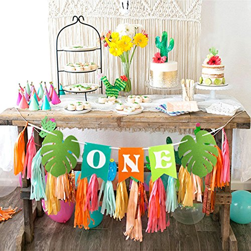 ONE Banner With Palm Leaves Felt Highchair For Baby Boy Girl First Birthday Decorations