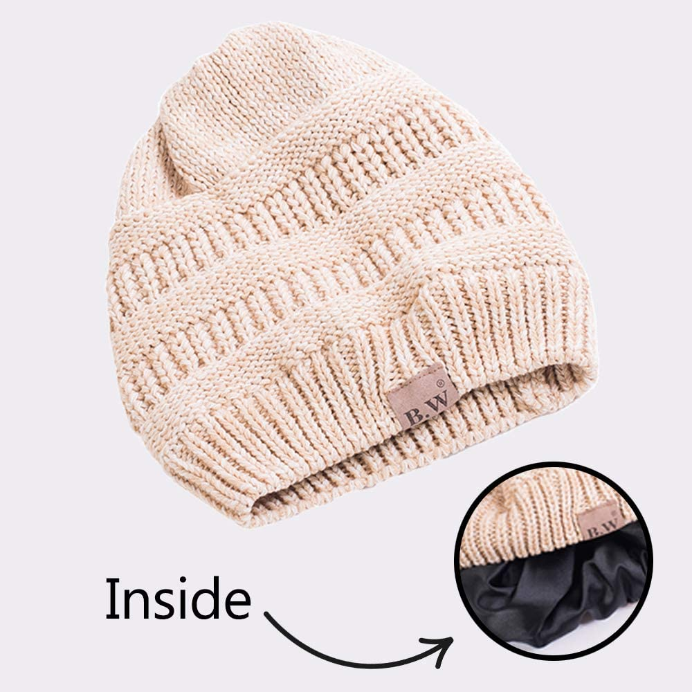 Beautifully Warm Women/'s Winter Hat Slouchy Beanie Satin Lined Hat for Women