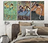 wall26 3 Panel World Famous Painting Reproduction on Canvas Wall Art - Dancers by Edgar Degas - Modern Home Decor Ready to Hang - 16'x24' x 3 Panels
