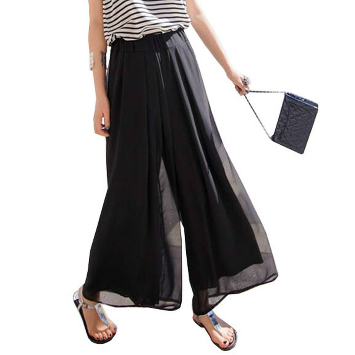 Joyci Fashion High Waist Chiffon Split Skirt Culottes Pants (Style B Black)