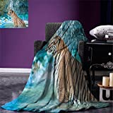 smallbeefly Tiger Digital Printing Blanket Feline Beast in Pond Searching for Prey Sumatra Indonesia Scenes Summer Quilt Comforter Turquoise Light Brown Black