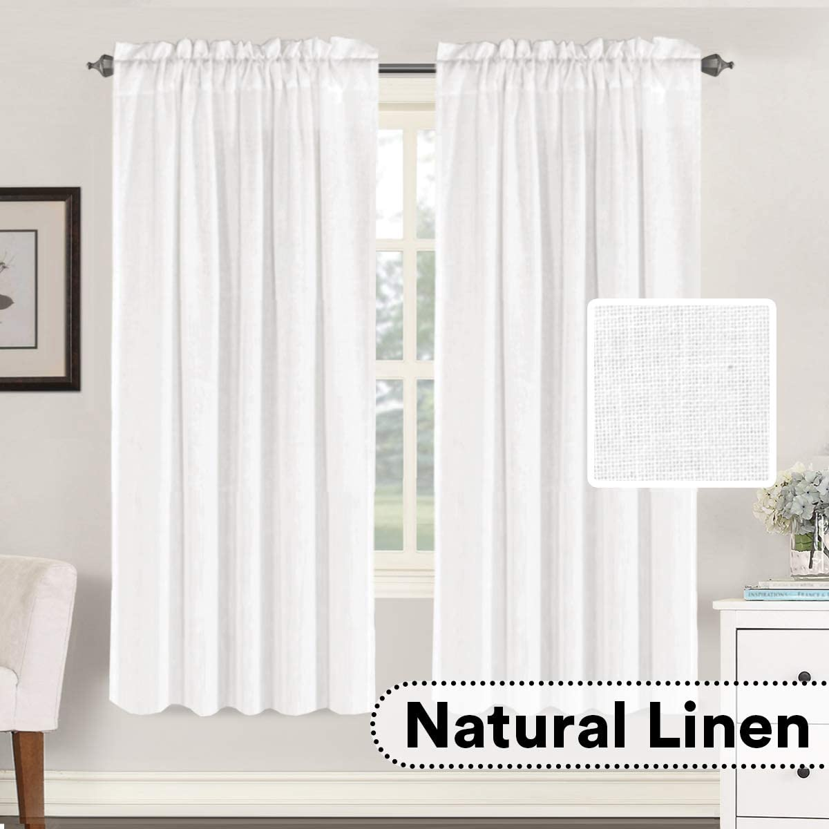 2 Pack, 52 by 45 Inch, Natural Rod Pocket H.VERSAILTEX Light Filtering Linen Textured Curtains for Living Room Window Treatment Natural /& Durable Privacy Added Draperies//Drapes//Panels//Treatment