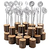 Wooden Base Place Card Holders, Dedoot Rustic Real Wood Base Table Number Holder Party Decoration Card Holders Picture Memo Note Photo Clip Holder- Pack of 30