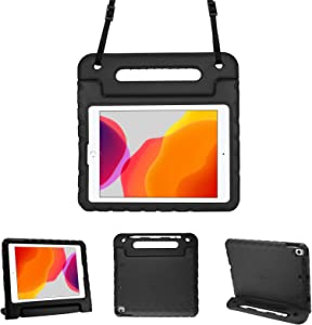 "ProCase Kids Case for iPad 10.2 8th Gen 2020 / 7th Gen 2019 / iPad Air 3 10.5"" 2019 / iPad Pro 10.5, Shockproof Light Weight Convertible Handle Stand Case Kids Friendly Cover for iPad 8 /iPad 7 -Black"