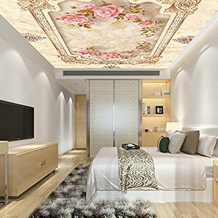 Marble Rose Wallpaperstyle Roof Ceiling Mural Wallpaper Living Room Simple Wallpaper In Bedroom Model Design