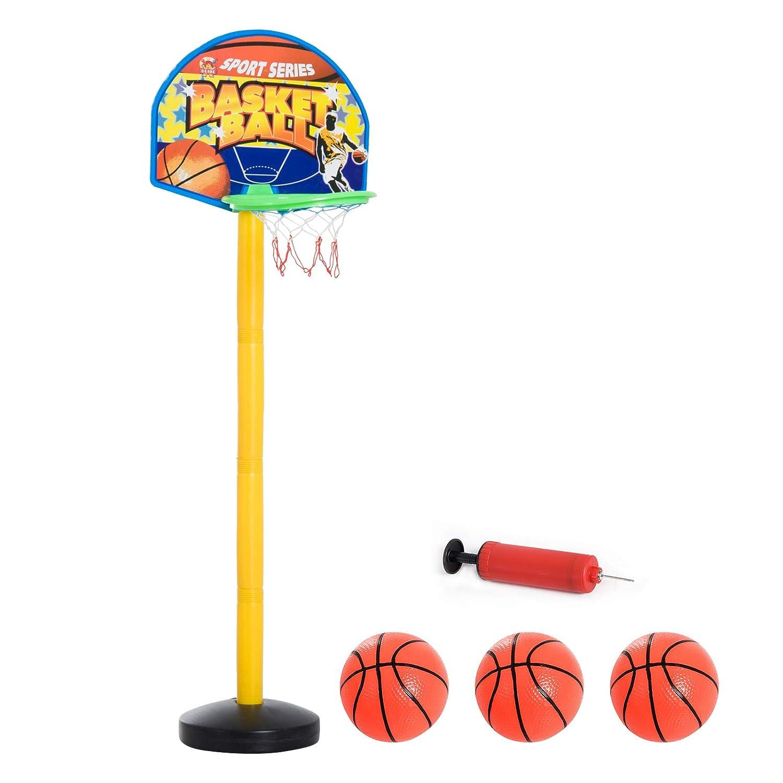 HOMCOM Cesta Soporte Tablero Baloncesto Portátil Canasta de Baloncesto Portátil Aro de Baloncesto Infantil para Interior y Exterior PE 44x33x42cm