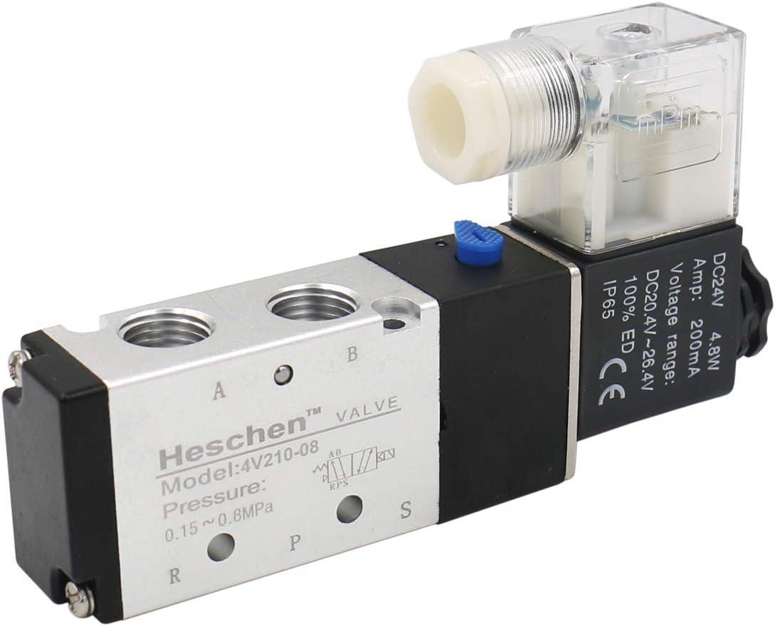 heschen eléctrico neumática válvula solenoide 4V210-08 24VDC 4.8W PT1/4 5 way 2 posición CE