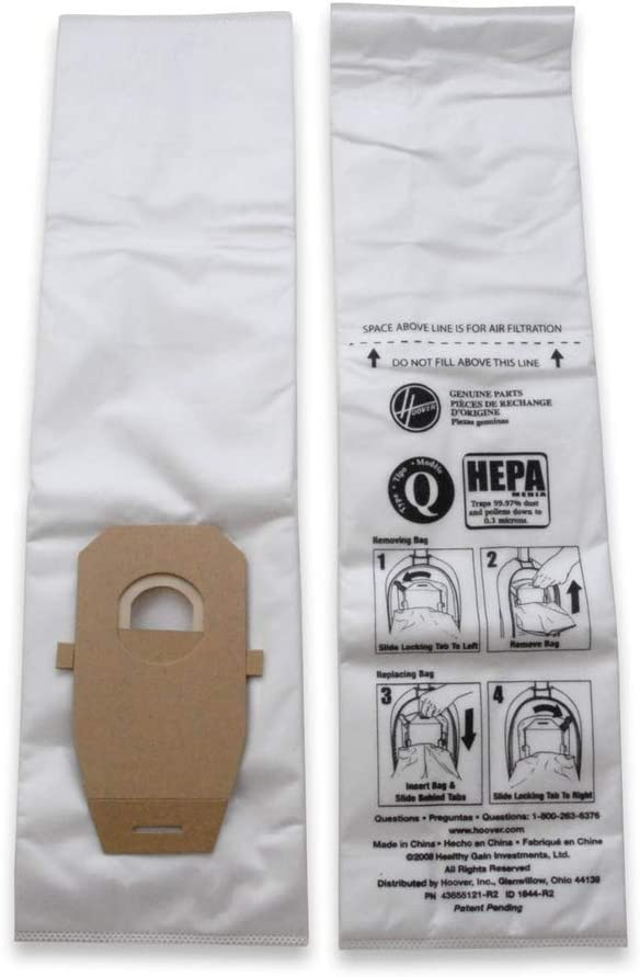 Hoover Platinum Type-Q HEPA Filter Vacuum Cleaner Bag, Part 902419001, for Upright UH30010COM, Pack of 2, AH10000, 2 Count - Household Vacuum Bags Upright