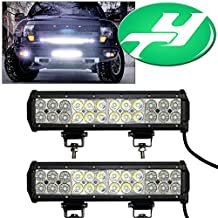 YINTATECH 2X 72W 12 inch LED Light Bar Flood Spot Combo Beam Waterproof for Jeep / Van / ATV / SUV / Pickup / Off-road / Truck Driving Light