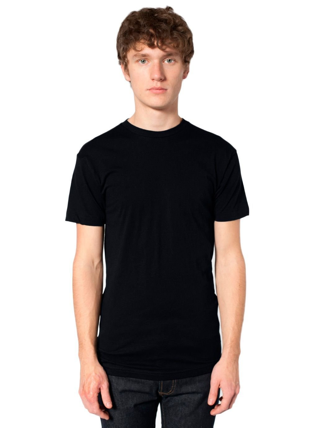 American Apparel Men Sheer Jersey Crewneck 'Summer' T-Shirt Size XS Black
