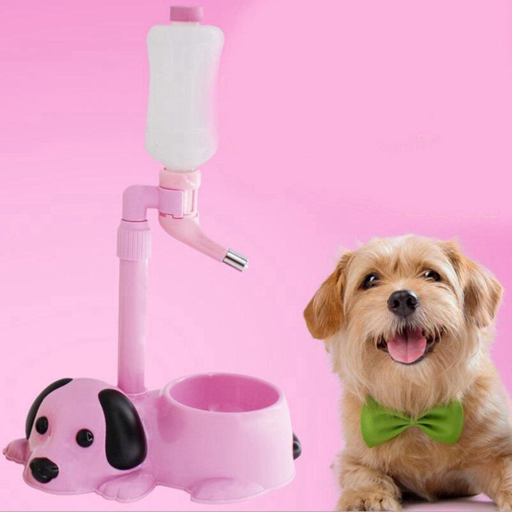 JIN Pet Standing Water Dispenser 600Ml Bottle Detachable Pole Automatically Height Adjustable Cat Dog Water Bottle Feeder Bowl,Pink by WJL (Image #3)