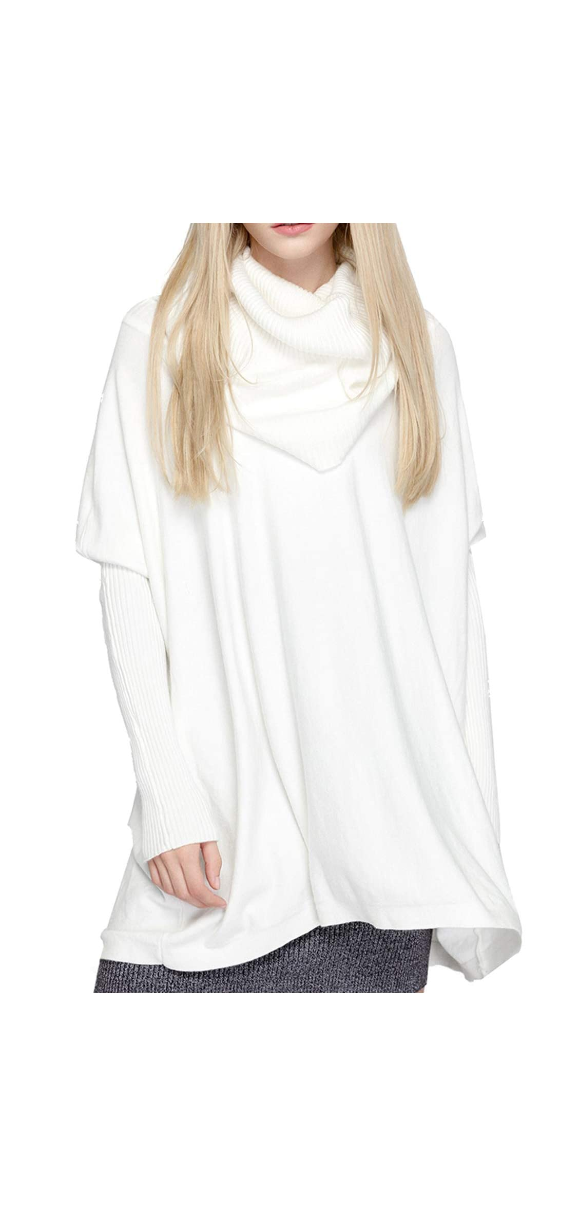 Women Oversized Cowl Neck Sweaters Long Sleeve Loose Fit