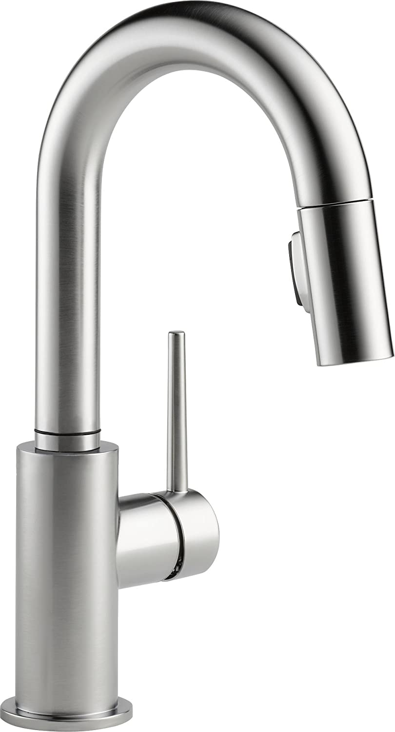 Delta Faucet Trinsic Single-Handle Bar-Prep Kitchen Sink Faucet with Pull Down Sprayer and Magnetic Docking Spray Head, Arctic Stainless 9959-AR-DST