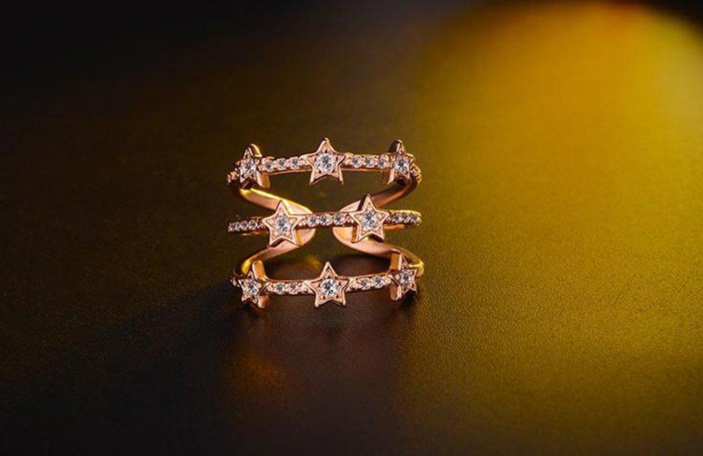 Golden Dosige Damen Ringe Fingerring Schmuck Bl/ätter-Design offene verstellbare Eheringe Freundschaftsringe Partnerringe