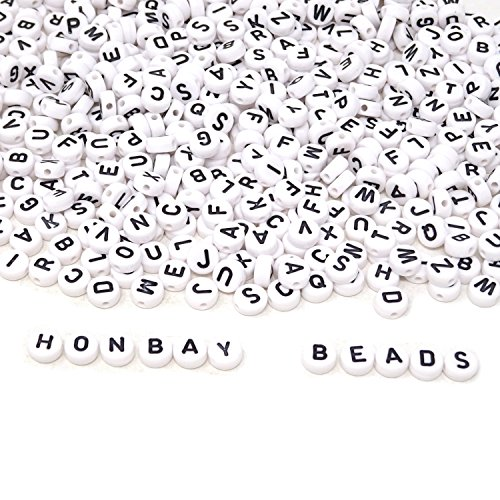 Honbay 600PCS 4x7mm White Acrylic Round Alphabet Beads Letter Beads for Jewelry Making, Bracelets, Necklaces, Key Chains and Kids Jewelry