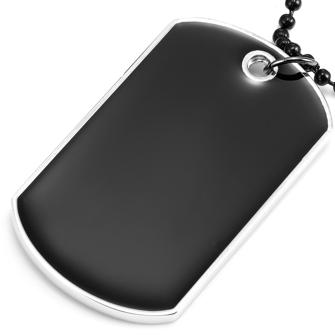 Powerful Army Style Double Dog Tag Pendant Mens Necklace Black, Silver Biker Adjustable 68cm Black Chain