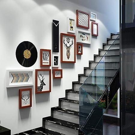 Gaorb Conjunto de Pared con Marco de Fotos, Foto de Pared Escaleras Creativas Reloj Marcos de Fotos Muro Imagen múltiple Marcos de Fotos Combinación (Color : B): Amazon.es: Hogar