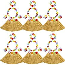 Elesa Miracle 6 Sets Kids Girls Elastic Hawaiian Hibiscus Grass Hula Skirts Value Set Costume Luau Party Favors Hula Dancer Skirt Leis, Tan