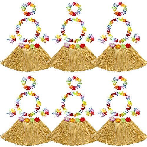 Elesa Miracle 6 Sets Kids Girls Elastic Hawaiian Hibiscus Grass Hula Skirts Value Set Costume Luau Party Favors, Tan -