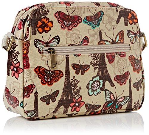 SwankySwansNoel Paris Butterfly Floral 3 Pocket - Borsa a tracolla donna Beige (Beige (Beige))