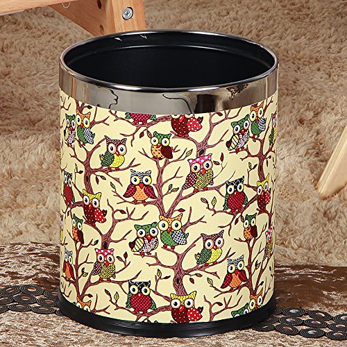 Luxury Double Layer Leather Trash Can with Stainless Stell ring Metal Waste bin 10L garbage container Dustbin case for hotel office (owl) (Can Bathroom Trash Owl)