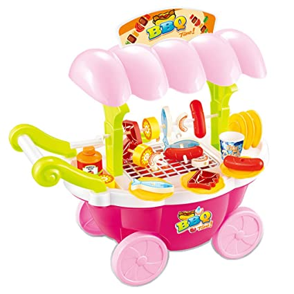 Homyl Juguete Infantil Preescolar Carrito de Helados Rosado Alimentos de Silumación Plástico en Miniatura para Dollhouse